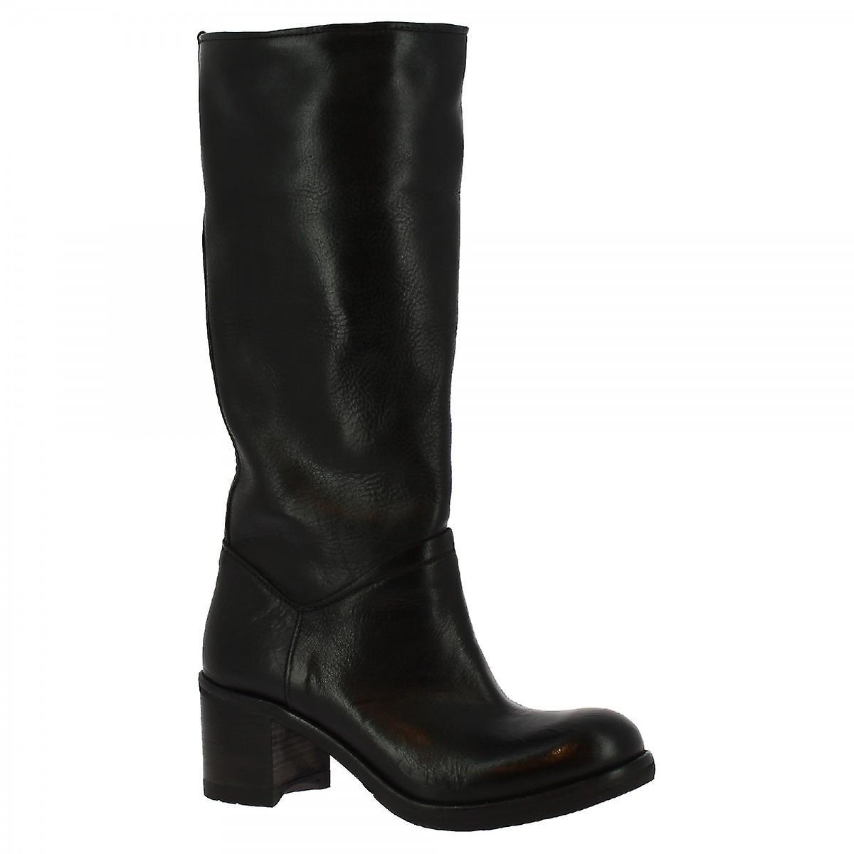 Leonardo Shoes Women's handmade heels knee high boots in black calf leather Ff78a