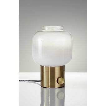 "8"" X 8"" X 12"" Brass Glass Table Lamp"