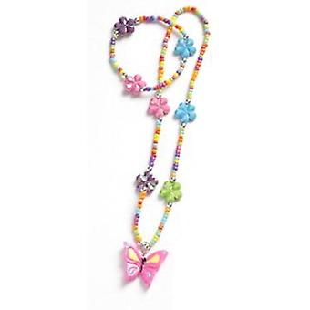 Filles TOC rose papillon fleur multicolore Collier & Bracelet Set