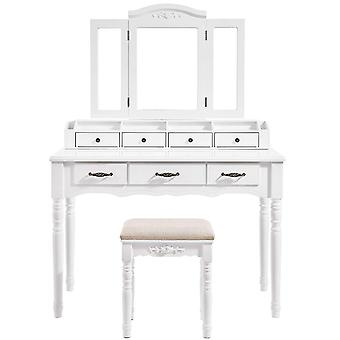Classic luxury Dressing table with three-piece mirror and stool