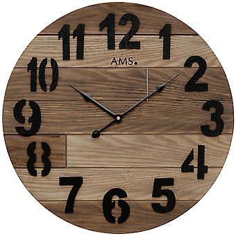 AMS 9569 Horloge murale quartz analogique bois rond