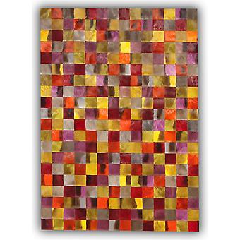 Tapijten - Patchwork lederen Cubed Springbok verbergen - Springbok geverfd kleuren