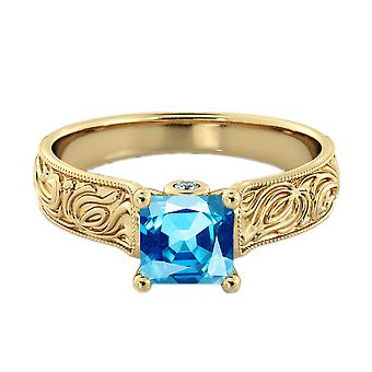 14K Yellow Gold 2.06 ctw Blue Topaz Ring with Diamonds Filigree Cathedral Princess