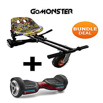 "6.5"" G PRO Red Bluetooth Hoverboard with Go Monster Hoverkart in Hip Hop"
