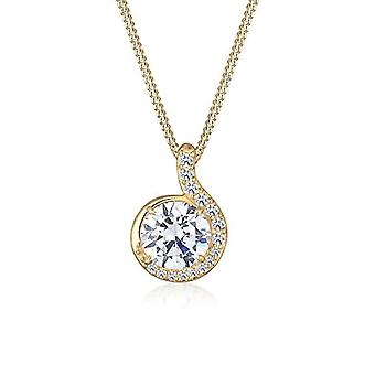 Elli Necklace with Women's Pendant in Yellow Gold 14K with White Cubic Zirconia - 45 cm
