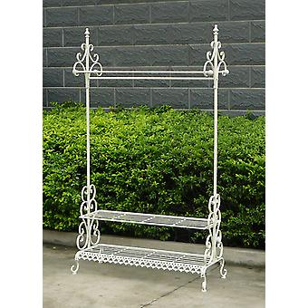 Charles Bentley Wrought Iron Kleding & Shoe Rack Coat Stand Garment Hanging Rail