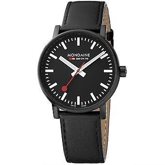 Mondaine evo2 Black IP Case Black Leather Strap Men's Watch MSE.40121.LB 40mm