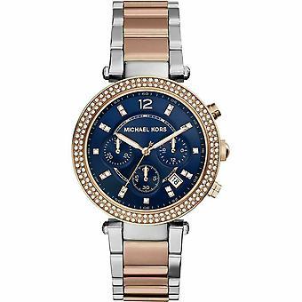 Michael Kors MK6141 Parker Chronograph Modrý číselník Dvoubarevné dámské hodinky