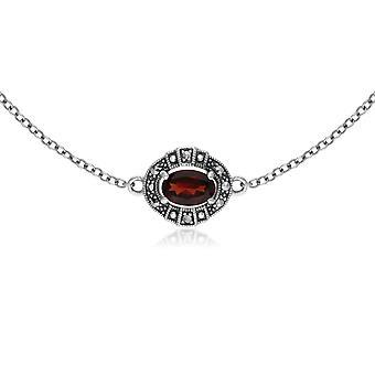 Art Deco Style Oval Garnet & Marcasite Cluster Bracelet in 925 Sterling Silver 214L165403925