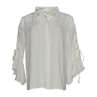 Masseys Women's Top Blouse Style w/ Ruffled Detail White