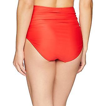 Marca - Coastal Blue Women's Swimwear High Waist Bikini Bottom, Ladybu...