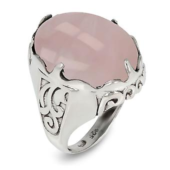 ADEN 925 Sterling Silber rosa Quarz ovale Form Ring (ID 3450)