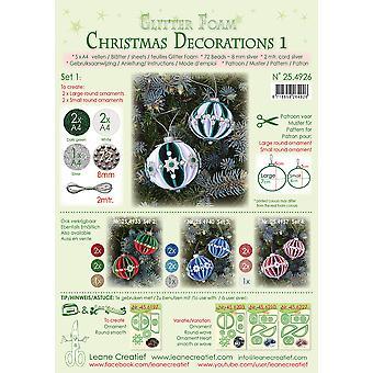 Leane Creatief קצף נצנצים חג המולד קישוטים A4 סט 1