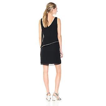 Sandra Darren Women's 1 PC Kolsuz Katı Şifon Kaplama Kılıf Elbise, Siyah, 10