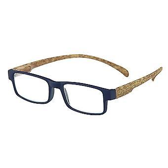 قراءة نظارات يونيسيكس القرد الخشب الأزرق / براون قوة +3.00 (le-0179B)