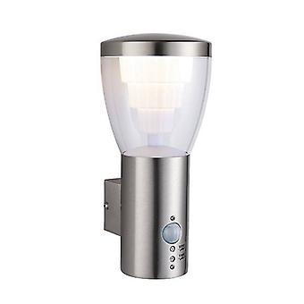 Integrerad LED PIR 1 Ljus utomhus vägg ljus borstat rostfritt stål, klart IP44