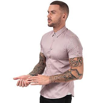 Men & apos;s Ted Baker Gudvu Geo Print Cotton Shirt i rosa