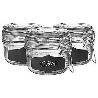 Glass Storage Jars with Airtight Clip Lid and Chalkboard Stickers - 125ml Set - Clear Seal - Pack of 6