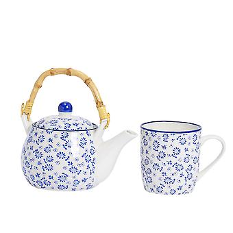 Nicola Spring 2 Piece Daisy Patterned Tea For One Set - Japanese Style Porcelain Teapot and Mug - Navy Blue -