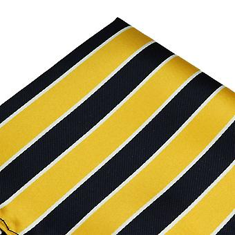 Ties Planet Yellow, Navy Blue & White Striped Pocket Square Handkerchief