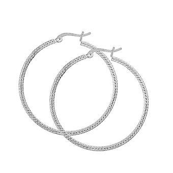 Dug sterling sølv sæt reb detalje 40mm Hoop Øreringe 6640HP027