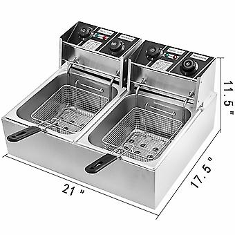 Electric Stainless Steel Double Tank Fat Chip Fryer With Timer And Drain Tap