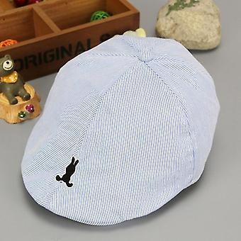 Baby Cotton Beret Hat, Baby Cap Summer, Autumn Denim Jean Stripe Flat Caps