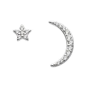 Dew Sterling Silver Cubic Zirconia Star & Crescent Stud Earrings 3721CZ021