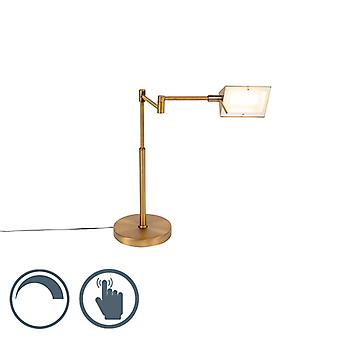 QAZQA Design table lamp bronze incl. LED with touch dimmer - Notia