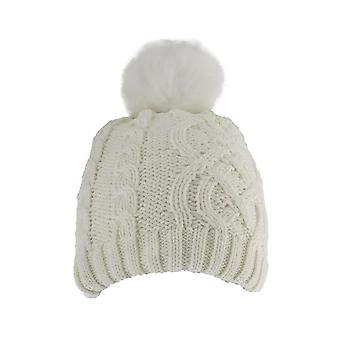 Metallic Cable Knit Hat with Faux Fur Pom Pom