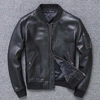 Khal mens genuine leather ma-1 jacket