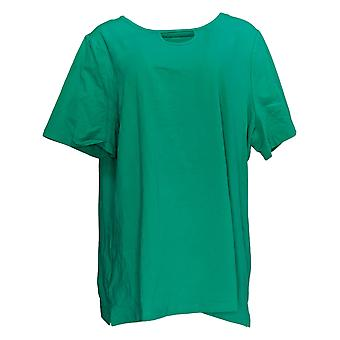 Denim & Co. Kvinder's Top Kort ærme W / Nøglehul Halsudskæring Grøn A378160
