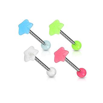 14Ga star glow-in-the-dark top 316l surgical steel barbell - 4 colors to choose