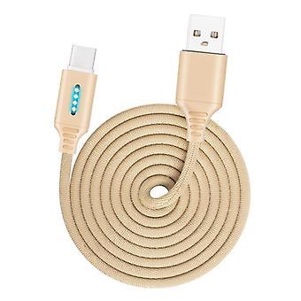 USB-C / Type-C-liitäntä Sinkkiseos Markiisi Valovoima älykäs automaattinen virta pois lataus datakaapeli (kulta)