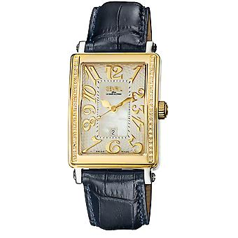 GEVRIL WOMEN S MEZZO SWISS MADE QUARTZ DIAMOND ACCNTD STRAP WATCH GOLDTONE NAVY