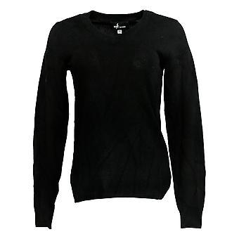 Soft by NAADAM Women's Sweater (XXS) 100% Cashmere V-Neck Black A370915