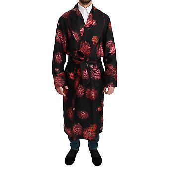 Black Red Floral Coat Kimono Silk Robe