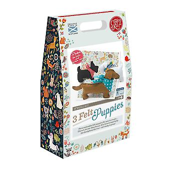 Felt puppies sewing kit for children by the crafty kit company