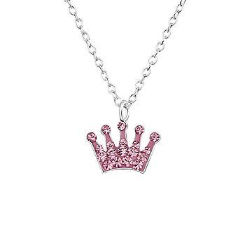 Dievčatá šterlingov strieborná ružová krištáľová koruna náhrdelník