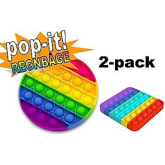 2-pak Pop It Fidget Toy Original - Rainbow - CE-godkendt