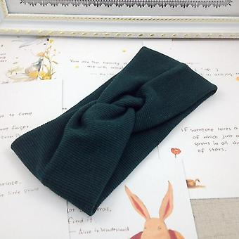 Women, Solid Knitting Cross Knot Woolen Warm Headbands, Elastic Hairbands,