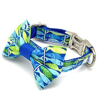 Blue Neon Dog Collar & Bow Tie Set