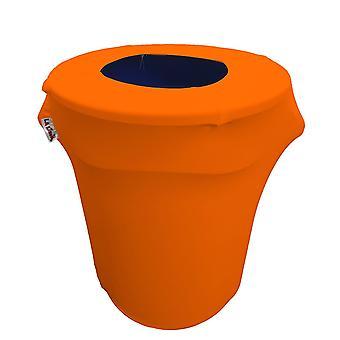 La Linen Stretch Spandex Trash Can Cover 32-Gallon Round,Orange