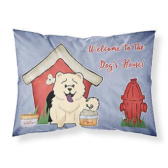 Caroline'S Treasures Dog House Collection Chow White Fabric Funda de almohada estándar Bb2894Pillowcase