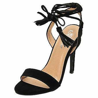Koi Footwear High Heel Strappy Shoes Ankle Wrap Sandals Black Suede