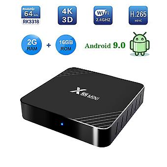 X88 mini android 9.0 4k smart tv box rockchip rk3318 quad core 2g 16g tv box android usb 3.0 2.4g wifi set top box pk x96 mini