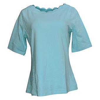 Denim & Co. Frauen's Top perfekte Jersey W / Jakobsmuschel Ausschnitt grün A353041