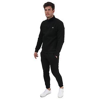 Menn's Lacoste Piped Fleece Tracksuit i svart