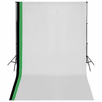 vidaXL Fotostudio Set 3 Baumwolle-Hintergründe Rahmen verstellbar 3x5m