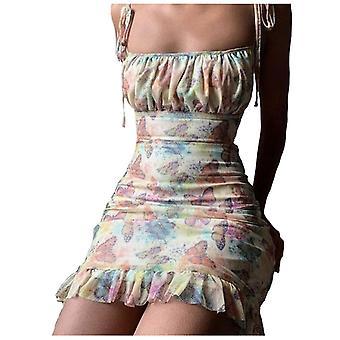 Strap Slim Pleated Mini Dress, Fashion Women Sexy Tie-dye Dress